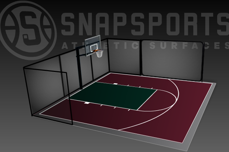 30' x 30' Basketball Court with Rebounder