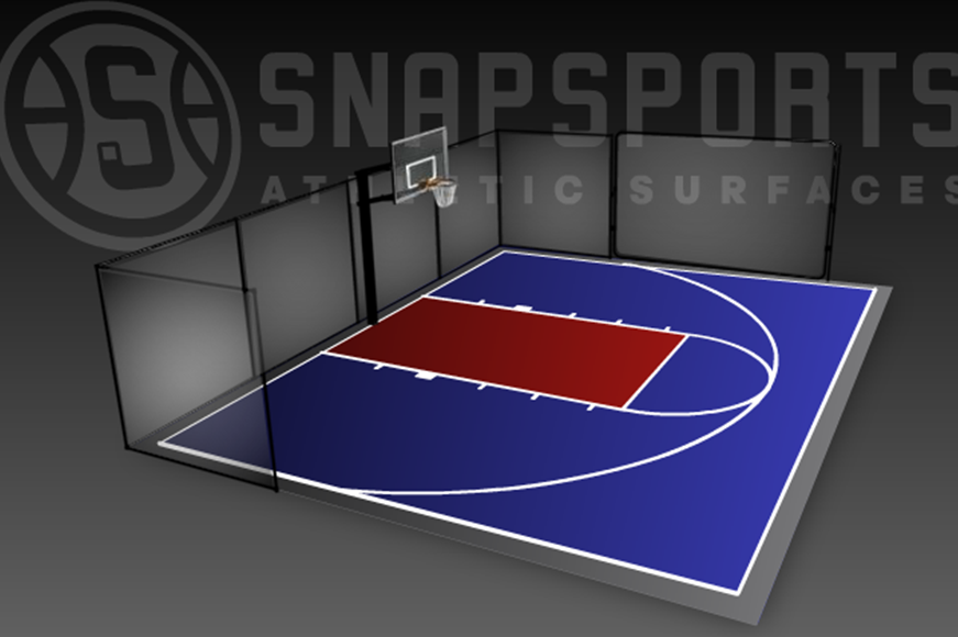30' x 40' Basketball Court with Rebounder