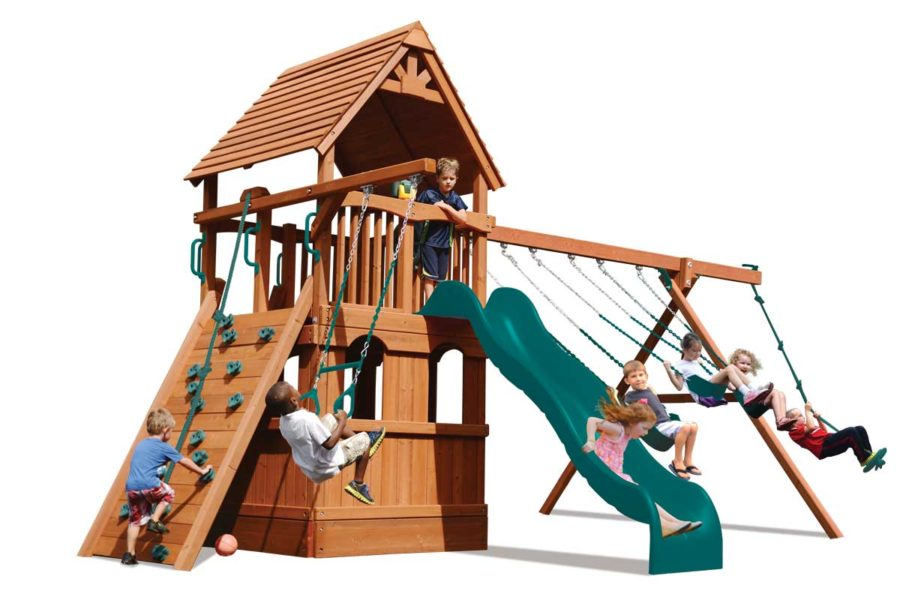 Deluxe Fort w/Lower Level Playhouse Green w/Green Slide