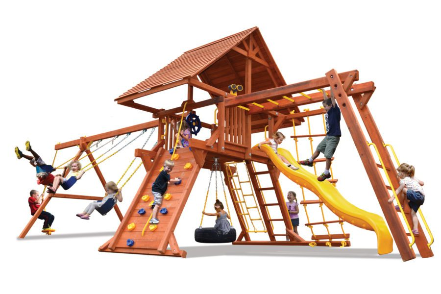 Deluxe Playcenter Combo 3 w/Wood Roof BYB w/Yellow Slide