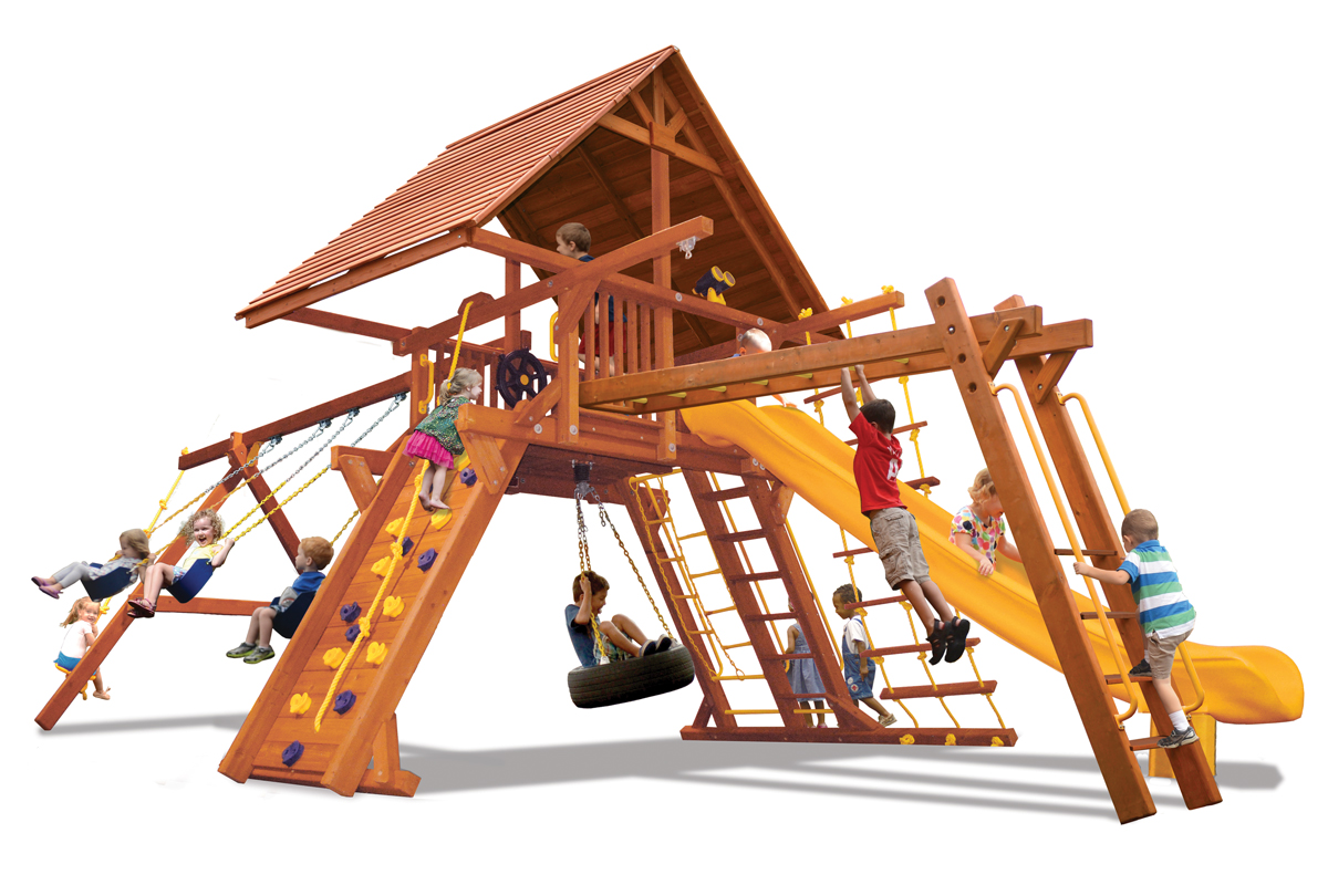 Supreme Playcenter Combo 3 w/Wood Roof BYB w/Yellow Slide