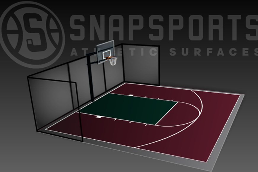 30' x 30' Basketball Court with Containment Netting