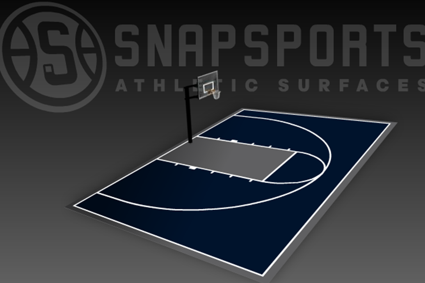 30' x 50' Basketball Court with Hoop